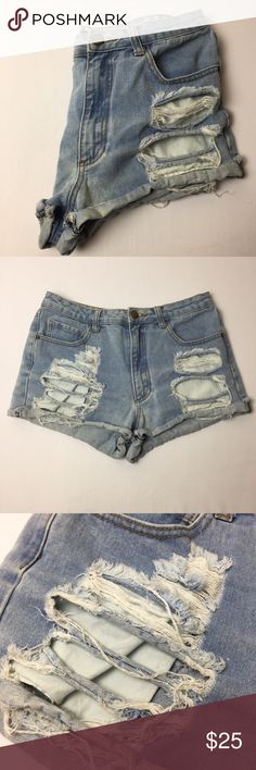 Forever 21 Distressed High Waist Jean Shorts Sz 29 The perfectly distressed shorts are pretty hard to come by here on Poshmark.... trust me, I had such a hard time finding these babes! The only thing that's wrong is that they don't fit me😢 F21 denim blue Jean cuff shorts that are cuffed torn distressed destroyed ripped torn and all of the sort. Gently used. Runs big in my opinion. These would be great if they actually fit me🙂 Waist-30in Rise-11in Forever 21 Shorts Jean Shorts