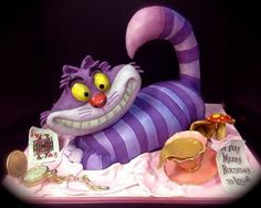 Alice in Wonderland Chesire Cat Birthday Cake - Ohh myyy Crazy Cakes, Fancy Cakes, Cute Cakes, Cheshire Cat Cake, Chesire Cat, Unique Cakes, Creative Cakes, Birthday Cake For Cat, Birthday Cakes