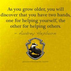 Hufflepuff Pride< Harry Potter Love, Harry Potter World, Harry Potter Houses, Hogwarts Houses, Hufflepuff Pride, Ravenclaw, Infj, Introvert, Audrey Hepburn