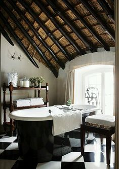 bamboo ceiling, black & white bathroom