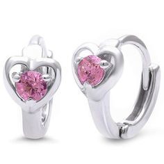 Buy lovely Huggie Earrings Heart Round Pink Cubic Zirconia for your wife at the lowest price ever. #diamond #sterlingsilver #wedding #figa #Ring #Gold #Victorian #Antique #Engagement #18K   #ngagement #Yellow #Cluster #blue