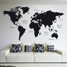 Detailed silver grey world map feature wall wallpaper mural 315cm black world map wall tattoos by crearreda wallstickers publicscrutiny Image collections