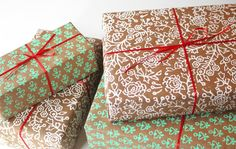 Hand Printed Gift Wrap Indian Block Print by FieldGuideDesign