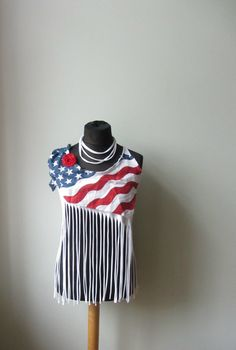 White American Flag Fringe Tshirt Tank Top, Upcycled T-Shirt, Fourth of July Shirt, Americana Clothing, 4th of July Top, July 4th, Patriotic by GarageCoutureClothes on Etsy