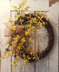 Front door wreath, Best seller, Wreath Great for All Year Round - Everyday Burlap Wreath, Door Wreath, Beautiful wedding wreath, forsythia