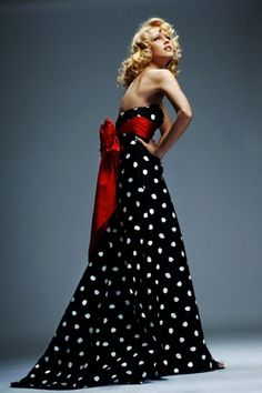 Black and white polka dots - and that red bow! Love for a reception dress!