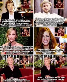 Celebs congratulating taylor !!! My favorite is Ellen oh Ellen