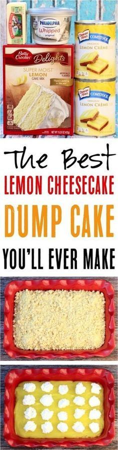 Such a delicious, citrusy dessert you… Easy Lemon Cheesecake Dump Cake Recipe! Such a delicious, citrusy dessert you'll love. The best part is that it's only 4 ingredients! Easy Lemon Cheesecake, Easy Cheesecake Recipes, Oreo Cheesecake, Easy Cookie Recipes, Frosting Recipes, Lemon Desserts, Lemon Recipes, Köstliche Desserts, Sweet Recipes
