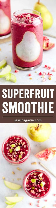 Superfruit Pomegranate Smoothie with Pear - Make breakfast or snack time a breeze with this tasty smoothie recipe! Plus a healthy blend of pear, banana, strawberry, and ginger. via @foodiegavin