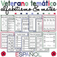 Veterano temático alfabetismo and mates / Veteran themed Literacy and Math Worksheets Spanish