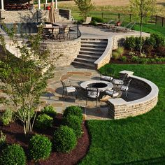 Stone firepit and flagstone patio - traditional - landscape - dc metro - Clearwater Landscape & Nursery Fire Pit Backyard, Backyard Patio, Backyard Landscaping, Patio Stairs, Steep Hillside Landscaping, Patio Bench, Landscaping Ideas, Benches, Yard Design