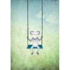 Jut en Juul Lifestyle for Kids : Prent Muis  - op schommel