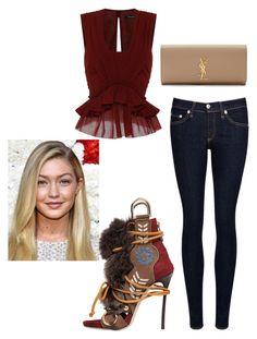 """Gigi for the nite"" by muscateguim on Polyvore featuring moda, Isabel Marant, rag & bone/JEAN, Dsquared2, Yves Saint Laurent y Maybelline"