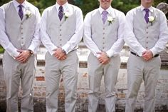 Purple ties on the groomsmen that are all different patterns!