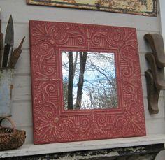 Vintage tin tile mirror. 2'x2' mirror.  Antique by DriveInService