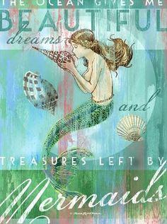 Treasures by Mermaids Artwork: Beach Decor, Coastal Decor, Nautical Decor, Tropical Decor, Luxury Beach Cottage Decor Real Mermaids, Mermaids And Mermen, Fantasy Mermaids, Sirens, Mermaid Artwork, Mermaid Paintings, Mermaid Prints, Mermaid Canvas, Mermaid Tale