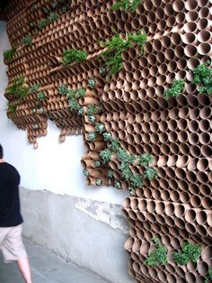 Surfacedesign, Inc.'s cardboard wall - cardboard installation for journey forth dekor fenster Museum of Craft and Design opens pop-up location Diy Garden, Indoor Garden, Garden Art, Garden Crafts, Indoor Plants, Garden Wall Designs, Garden Design, House Design, Walled Garden