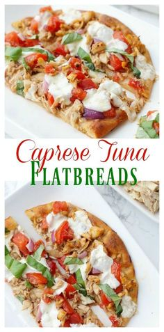 Caprese Tuna Flatbreads with White Albacore Tuna, Delicious Marinated Tomatoes, and Fresh Mozzarella! OnlyAlbacore AD @bumblebeeseafoods