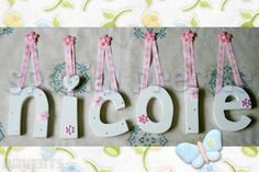Cute Ideas For Making Wooden Letters For Baby Room With Pink Flowers ~ http://lanewstalk.com/ideas-of-wooden-letters-design-for-baby-room/