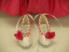 FlowerGirls shoes HotPink flowers by NewBrideCo on Etsy. , via Etsy.