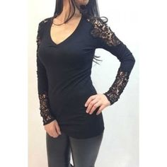 $9.56 Brief V-Neck Crocheted Lace Spliced Long Sleeve T-Shirt For Women