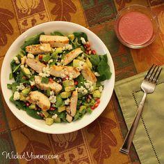 Chicken and Avocado Salad with Pomegranate Vinaigrette