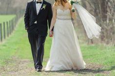 (Photo courtesy of Katherine Murray Photography) #blacktux #slimfit #modernfit #blacktie #bride #groom #bowties #springwedding #2016