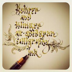 Rohrer & Klinger Drawing ink & Pilot Parallel Pen.