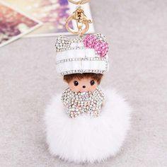 Cute Monchichi Fox Fur Handbag Charm Sleutelhanger Crystal Rhinestone