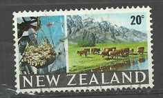 New Zealand 1967 Fishing and Cattle - 20c stamp - Used
