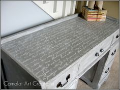 DIY Shabby French Decor: Antique Desk Refinished in French Script by Camelot Art Creations