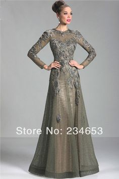 2014 Sexy Sheer Lace Appliques High Neck A line Mother of the Bride Dresses with Long Sleeve Formal Evening Gown-in Mother of the Bride Dresses from Apparel & Accessories on Aliexpress.com