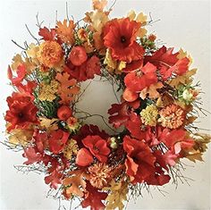 Oak Leaves Poppies And Lanterns Oh My Fall wreath Wreaths For Door http://www.amazon.com/dp/B00NMX61GY/ref=cm_sw_r_pi_dp_uDSgub0HZ6NKR