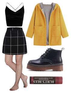 """""""Fishnet"""" by lilroseroberts ❤ liked on Polyvore featuring Boohoo, WithChic and Burt's Bees"""