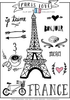 "Paris Love Clip Art : Since Valentine's Day is right around the corner, I thought I share a little ""LOVE"" with you all! Last summer a good friend of mine went on a missions trip to France, and as a gif… Paris Themed Birthday Party, Paris Party, Spa Birthday, Birthday Design, Thema Paris, Paris Kunst, Art Parisien, Image Paris, Travel Scrapbook"
