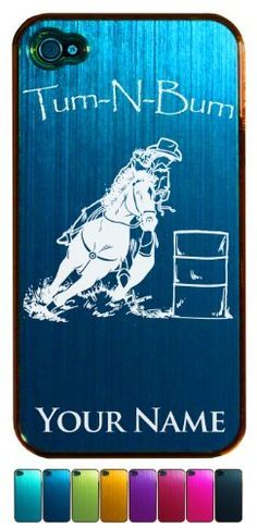 Engraved Aluminum iPhone 4 4S Case/Cover - COWGIRL BARREL RACER, TURN N BURN - Personalized for FREE (Click the CONTACT SELLER link after purchase to tell us your case color and engraving request) by SkunkWerkz LLC, http://www.amazon.com/dp/B009BW5J18/ref=cm_sw_r_pi_dp_k5IZrb1JK9JHT