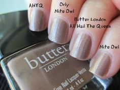 Butter London All Hail the Queen vs. Nail Polish Dupes, Nail Polish Colors, Butter London Nail Polish, Butter London Dupes, Butter London All Hail The Queen, Owl Nails, Sugar Nails, London Nails, High End Makeup