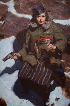 female soldier with gun, Dean Cornwell, illustration