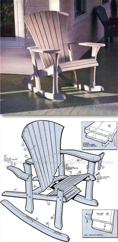 Adirondack Rocking Chair Plans - Outdoor Furniture Plans & Projects | http://WoodArchivist.com