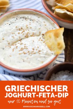 Greek yogurt feta dip with lemon minutes!) - carousel - Greek yogurt feta dip with lemon. This ultra creamy recipe is perfect for barbecues and p - Feta Dip, Greek Recipes, Dip Recipes, Organic Recipes, Ethnic Recipes, Eating Organic, Homemade Soup, Mets, Healthy Salad Recipes