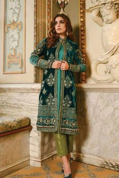 Beautiful Dress by Maria b in dark bottle green color with elegant design embroidery and looking so classy. Buy Maria b Designer Dress Online in USA. Pakistani Party Wear, Pakistani Bridal Dresses, Pakistani Dress Design, Pakistani Designers, Pakistani Outfits, Indian Dresses, Indian Outfits, Walima Dress, Anarkali