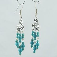 Turquoise beaded earring wholesale,plated finding#a002 : OK Charms, China Wholesale Jewelry Accessories Marketplace