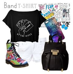 """I'm With The Band"" by arrowlily on Polyvore featuring rag & bone, Dr. Martens, Ivanka Trump, bandtshirt and bandtee"