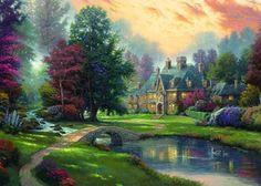 Thomas Kinkade Lakeside Manor Cross Stitch Pattern***L@@K***~~I SEND WORLD-WIDE ~~