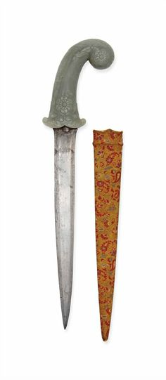 A CELADON JADE-HILTED DAGGER -  MUGHAL INDIA, 18TH CENTURY