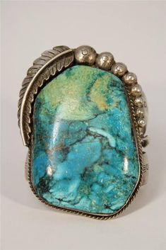 Huge-Old-Pawn-Native-American-Indian-Sterling-Silver-Cuff-Bracelet-Turquoise: