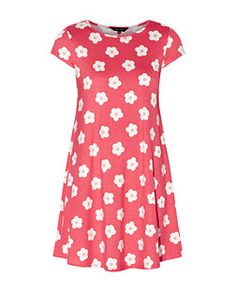 Coral Daisy Print Cap Sleeve Swing Dress | New Look