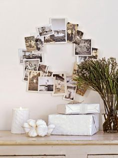 Reinvent the family tree with your favorite black and white snapshots. To make your own photo arrangement, hot-glue a selection of black and white snapshots (or make copies to preserve the originals) to a wire wreath form.