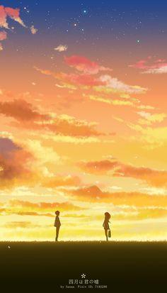 Arima Kousei and Miyazono Kaori - Your lie in April / Shigatsu wa Kimi no Uso Anime Body, Manga Anime, Manga Art, Anime Art, Wallpaper Animé, Scenery Wallpaper, Trendy Wallpaper, Kimi No Na Wa, Animes Wallpapers