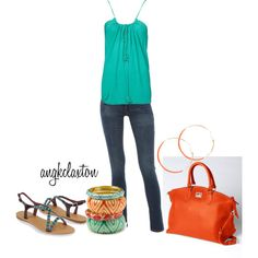 Orange and Turquoise by angkclaxton on Polyvore